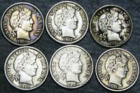 1911+1912+1912-S+1914+1914-D+1916 Barber Dimes Silver --- NICE LOT --- #A152