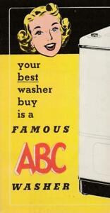 Adv Folder~ABC Washers~Wringer~Deluxe Ironer~Altorfer Bros~Peoria,IL~circa 1950s