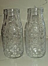 Glass Milk Bottles, Set of 2, Chicken Wire and Rooster Embossed, Country Style