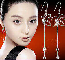 Hot Women Fashion Silver Plated Jewelry Butterfly Dangle Ear Wire Earrings