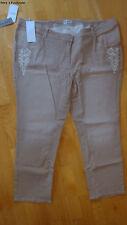 ★ ULLA POPKEN ★ 56 ~ Jeans mit Etno-Stickerei ~ beige ~ Slim legs ~ NEU