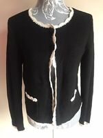 Laura Ashley Womens Cardigan Size 14 Black Cream Crochet Trim With Pockets