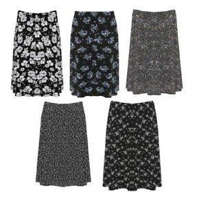 Women's Plus Size Short Elasticated Waist Printed Floral Midi Knee Skirt 16-26