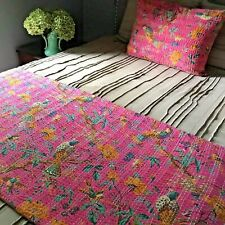 Queen Bohemian Reversible Kantha Quilt. Anthropologie Bedroom Decor.