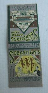 Old 1930's FRANK SEBASTIAN'S Cotton Club - Culver City CA. MATCHCOVER - Bobtail