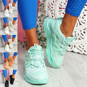 WOMENS LADIES SPORT CHUNKY SOLE TRAINERS SNEAKERS WOMEN RUNNING SHOES SIZE