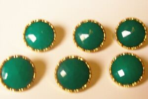 6 multifaceted green cabochon buttons with decorative gold rim 18 mm. diameter