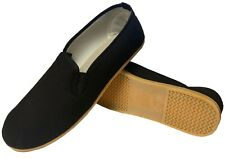 Sedroc Kung Fu Tai Chi Shoes Rubber Sole Slip On Canvas Wushu Slippers - Black
