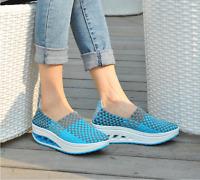 Women 's breathable Platform Color Match Casual Rocker Sole Sport Slip On Shoes