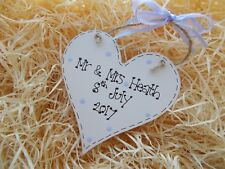 Personalised Mr and Mrs Wedding Day Heart Plaque Keepsake Gift