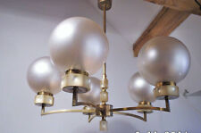 Art Deco Hängelampe Kugellampe Messing Stab Leuchte Pendel Bauhaus Lamp 52 cm