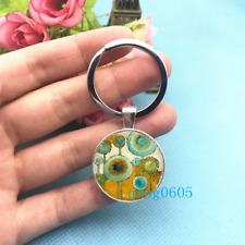Blue Circle Art Photo Tibet Silver Keychains Rings Glass Cabochon Key chain -47