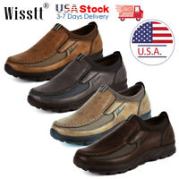 Men's Leather Casual Shoes Outdoor Antiskid Slip on Driving Loafers Moccasins US