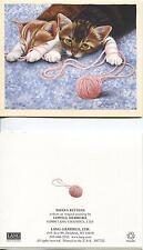 VINTAGE AUTUMN SEASON SQUIRREL HOUSE OCTOBER COZY MOTTO & KITTENS CAT YARN CARD