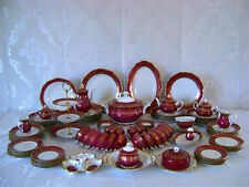 116 pc VTG GERMAN REICHENBACH FINE CHINA PORCELAN ROYAL RED GOLD SET FOR 12 RARE
