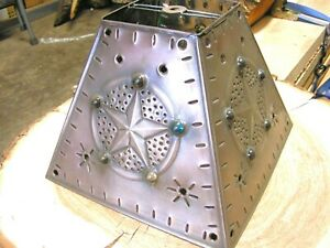 Western Star Tin Punch Metal Lamp Shade with Bead accents