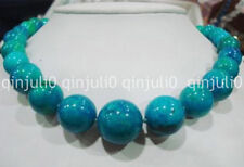 Stunning big 10-20mm blue crude turquoise bead necklace JN1067