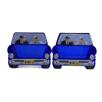 Set of 2 Vintage Joe Camel Wide 1 One Car Shaped Blue Glass Ashtrays Max and Ray
