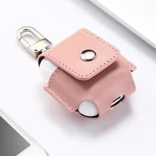 Genuine Leather Anti-lost Storage Bag with Metal Hook for Apple AirPods - Pink