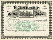 USA COLUMBUS SOUTHERN RAILWAY COMPANY stock certificate 100SH