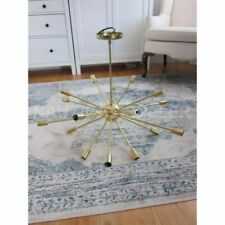 Mid Century Modern Gold Polished Brass Sputnik Chandelier light 18 fixture