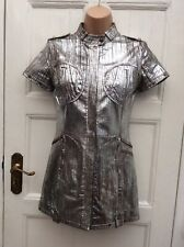 C'N'C Costume National Made In Italy Silver Leather Mini Dress Jacket 26/40, 6-8