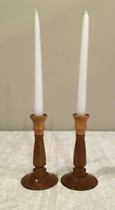 Vintage Pair of Wood Candle holders - Candlesticks - Farmhouse - Medium & Light