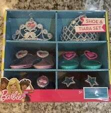 Barbie Shoe & Tiara Set (4 Pairs of Shoes & 2 Tiaras) with Storage Case NEW