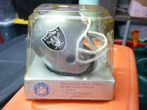 VTG Oakland Raiders Football Team Helmet NFL CLOCK Quartz LCD alarm clock NIB