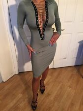 Connie's Semi Sheer Long Sleeve Olive Green Midi Dress with lace up neckline M