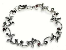 Armband  Saphir Rubine Smaragde  & Markasiten   925  Sterling Silber
