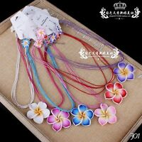 Women Party Polymer Clay Flower Crystal Pendant Necklace With Matching Earrings