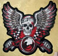 Skull and Wings Totenkopf  Schwingen  Aufnäher  Patch Back Biker Skull XL