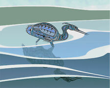 "BLUE HERON 14"" Signed, matted and numbered limited edition art print by MW James"