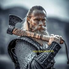 More details for viking axe forged carbon steel/hatchet best birthday anniversary gift for him