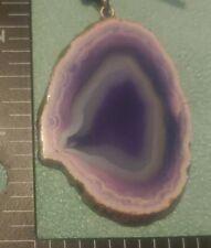 Natural Gemstone Geode Pendant w/ gold bail & trim