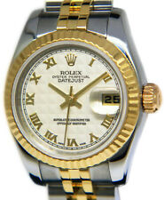Rolex Datejust 18k Yellow Gold & Steel Silver Pyramid Dial Ladies Watch 179173