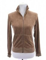 Juicy Couture Jr Womens Velour Full Zip Up Track Jacket Brown Jrs Sz Large