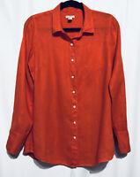 J Crew Button Up Shirt Size 8 Womens 100% Linen Long Sleeve Top Orange