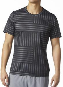adidas Response Printed Short Sleeve Mens Running Top - Black
