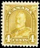 Canada #168 mint F-VF OG NH 1930 Arch/Leaf Issue 4c yellow bistre King George V