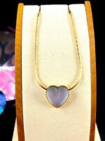 60'S CROWN TRIFARI GOLDTONE CHAIN NECKLACE FROSTED LUCITE LAVENDER HEART PENDANT