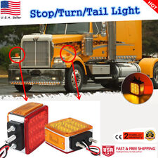 Pair 39LEDs Double Side Turn Signal Amber/Red Truck Fender Light With Rubber Pad