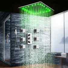 "16""Chrome LED Shower Faucet Thermostatic Valve Massage Jets Tap W/Handheld Spray"