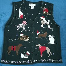 Susan Bristol Christmas Sweater Vest Cats Dogs Beaded Green  XL