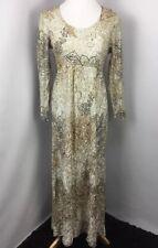 Vintage 70's Gold Lame Metallic Empire Waist Evening PROM Floral MOD BOHO dress