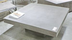 "43"" Square Coffee table Solid concrete slab top Cement Sealed for Indoor Outdoor"