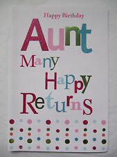 BEAUTIFUL COLOURFUL GLITTER COATED AUNT BIRTHDAY GREETING CARD