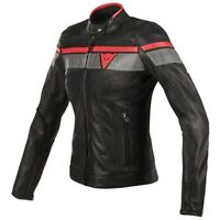 Dainese Blackjack Lady Leather Black Red Grey Motorcycle Jacket New