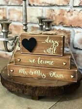 Personalised Mr & Mrs wedding countdown plaque blocks sign Rustic shabby